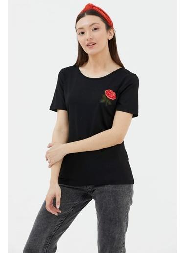 Sementa Sırtı Çapraz Bantlı Tshirt - Siyah Siyah